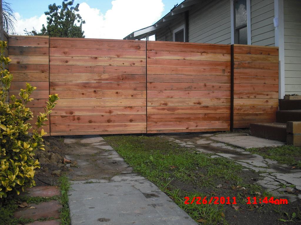 1x5 Redwood Modern Horizontal Fence Amp Driveway Gates 1