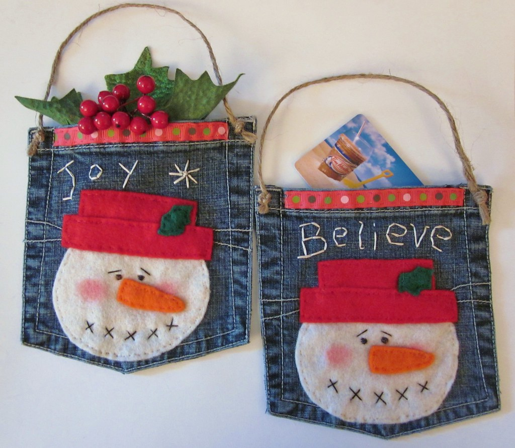 Primitive Snowman Gift Card Holder Ornament A Cute Way To