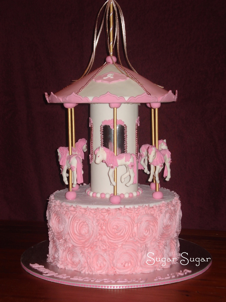 Pink And White Carousel Cake This Cake For A 1st Birthday Flickr