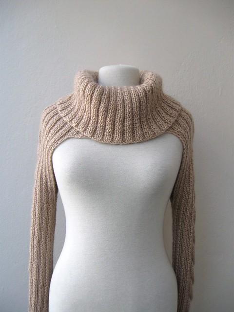 Knitting Pattern Bolero Jacket : Fall fashion - Knit shrug bolero jacket with cable pattern-turtleneck - long ...