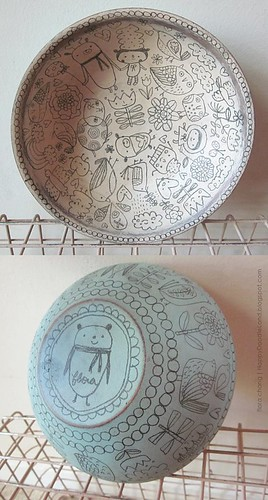wooden doodle bowl (SOLD) | by Flora Chang | Happy Doodle Land