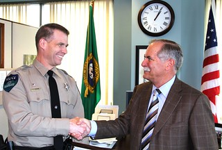 DNR Law Enforcement Officer Essman with Commissioner Goldmark | by Washington State Department of Natural Resources