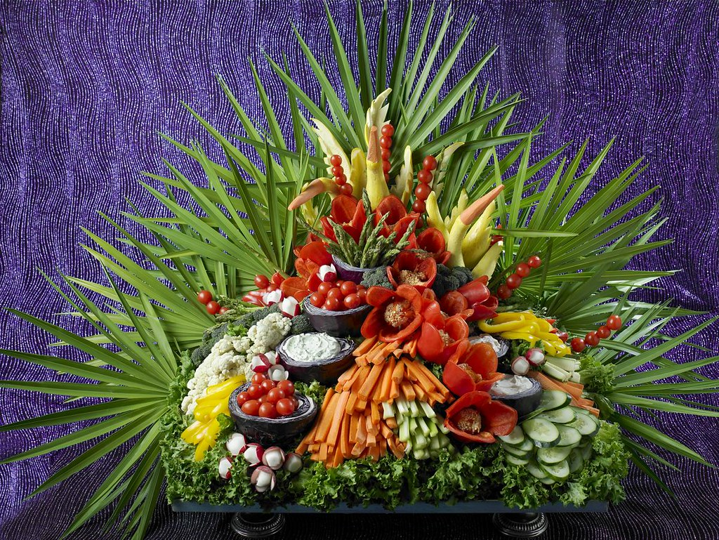 Waterfall Fruit And Veggie Displays: A Selection Of Fresh Vegetables And