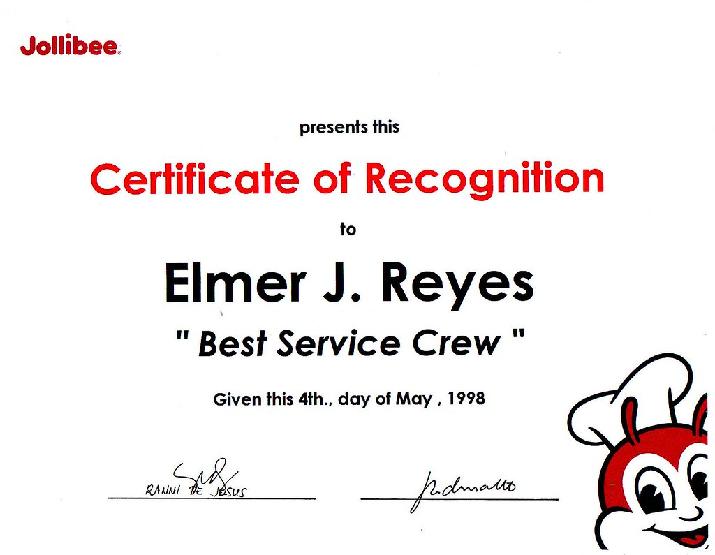 Sample certificate of jollibee gallery certificate design and sample certificate of jollibee choice image certificate design sample certificate of jollibee images certificate design and yelopaper Images