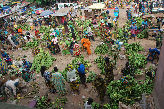 Plantain market in Africa