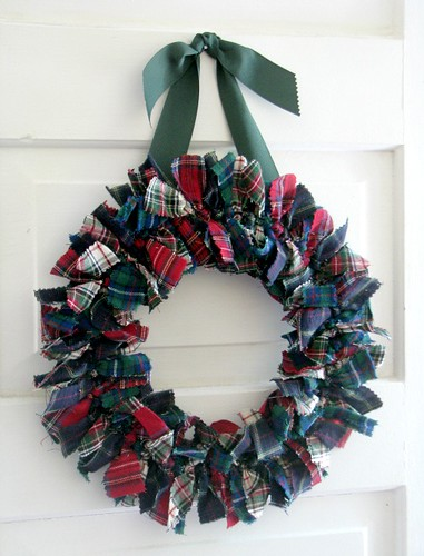 Tartan Plaid patchwork fabric Rag Wreath | by heatherknitz