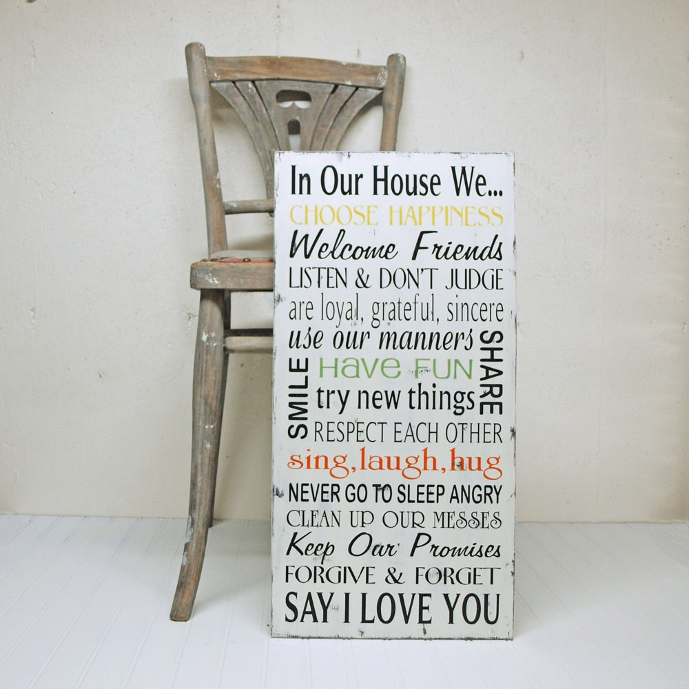 In Our House We...Family Rules Sign In Cottage White