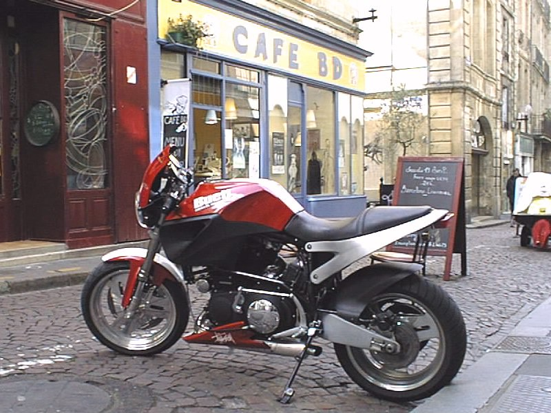 Buell Motorcycle Near A Coffee Shop