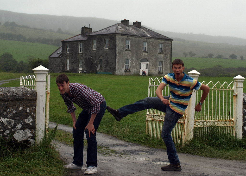 "Giving my bro a ""good old kick up the arse"" (AKA a ""Bishop Brennan"") outside Parochial House, County Kerry,Ireland. 
