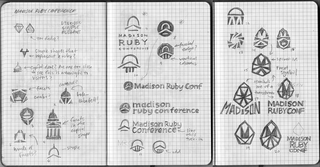 Madison Ruby Logo Sketches Round 1 : Pencil sketches for ...