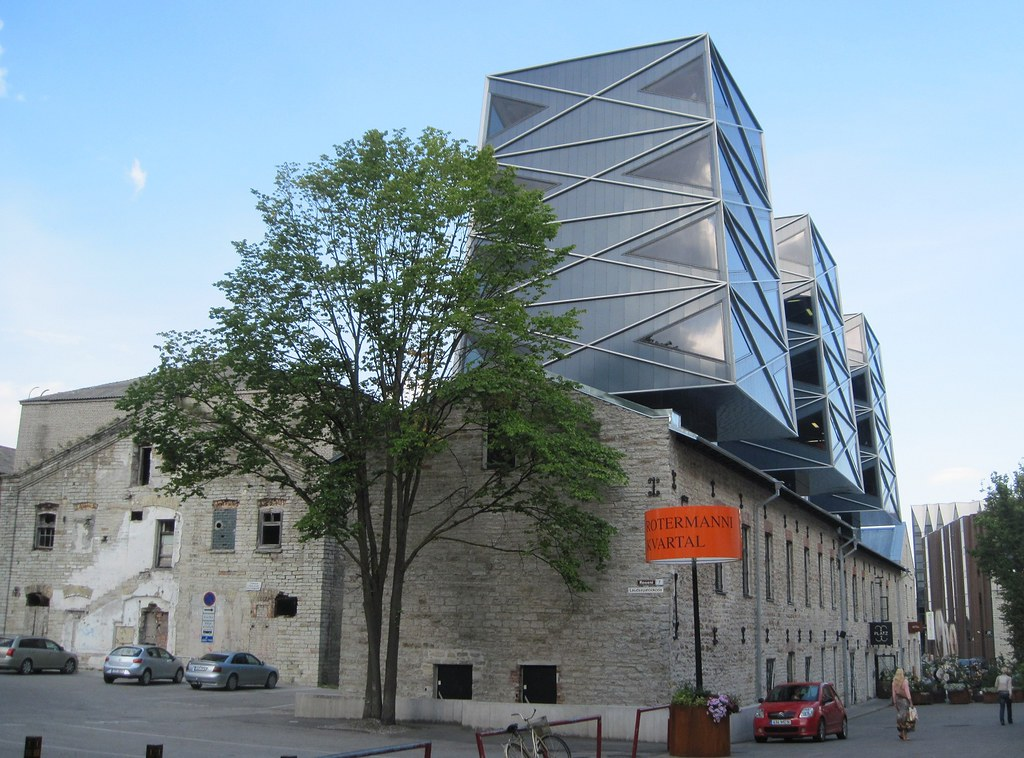 architecture contrast in tallinn rotermann quarter is