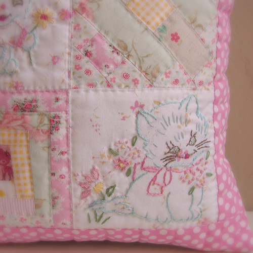 Cushion vintage embroidery hand quilted3 | by Roxy Creations