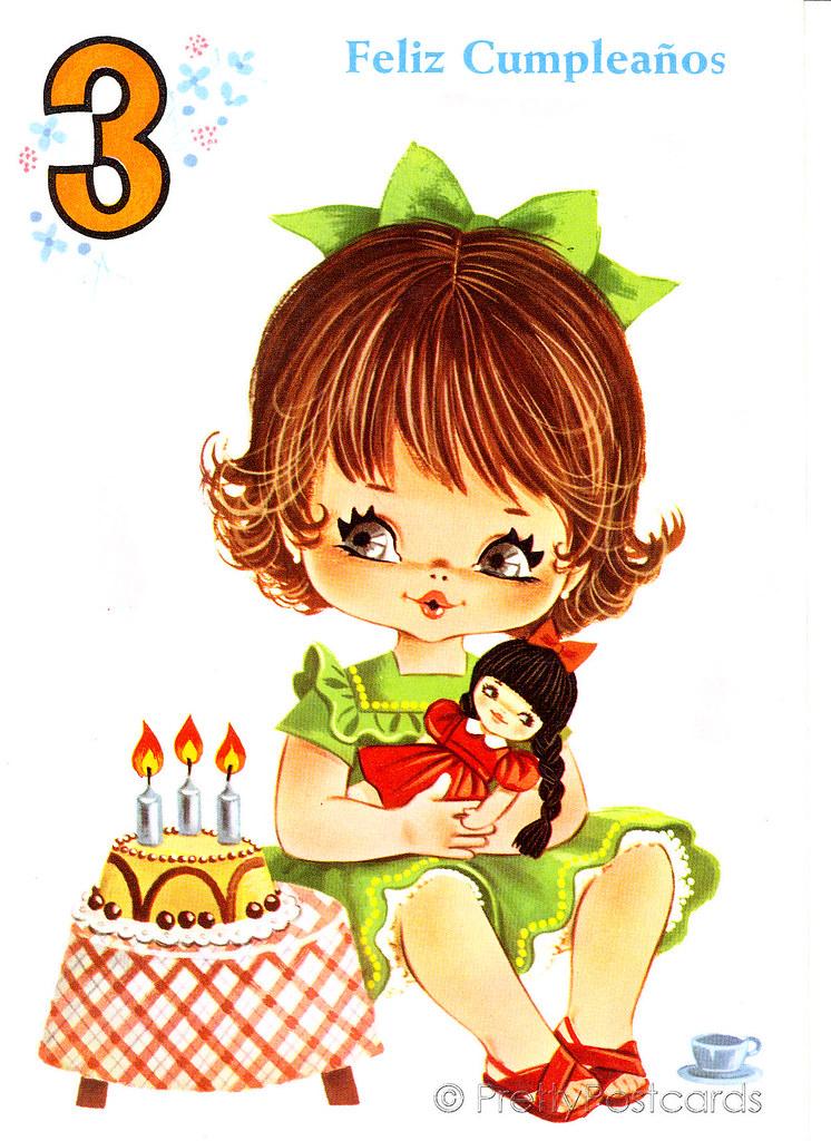 Vintage Birthday Card For A Three Year Old Big Eyed Girl