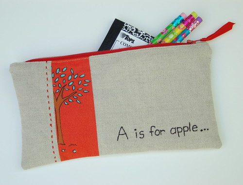 a is for apple pencil pouch | by amydunn