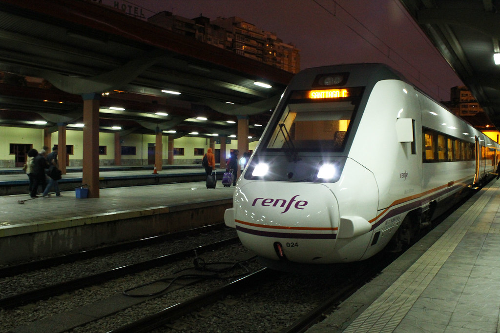 Medium distance train in at the station in Vigo, Spain