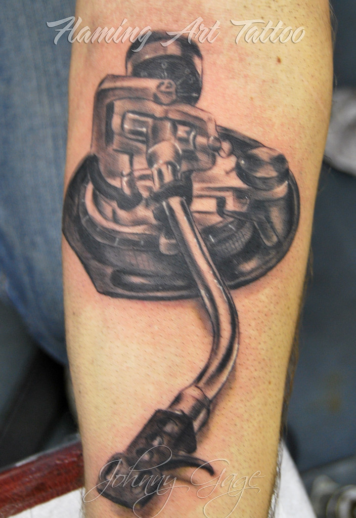 Record Player Arm Thing Tattoo Tattooed By Johnny At