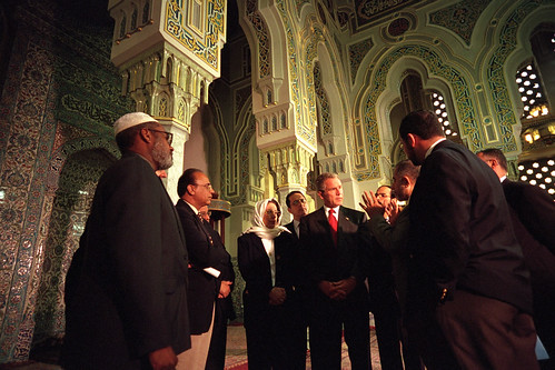 911: President George W. Bush at Islamic Center, 09/17/2001. | by The U.S. National Archives