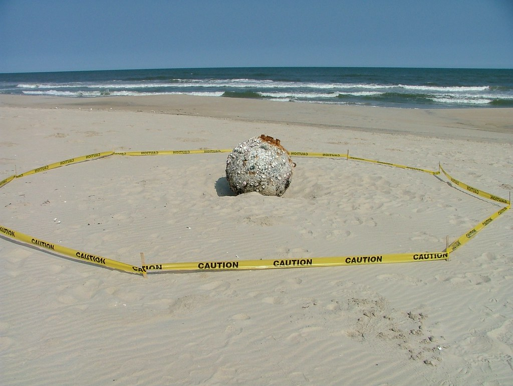 Mine Washes Up On Shore At Chincoteague Nwr During