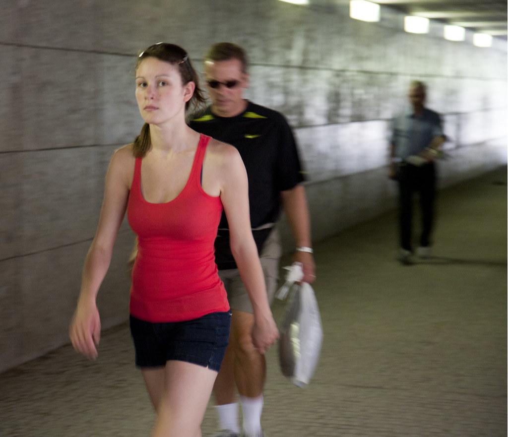 girl walking through a pedestrian tunnel in munich flickr. Black Bedroom Furniture Sets. Home Design Ideas