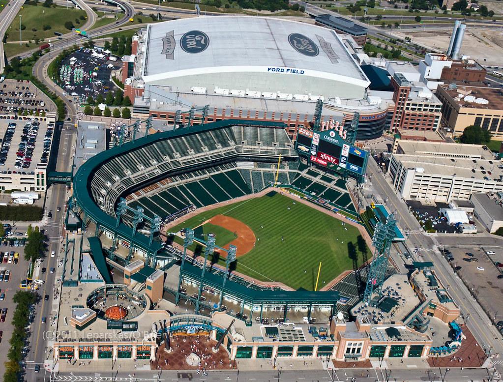 Aerial Detroit 9 Detroit Sports Center Comerica Park
