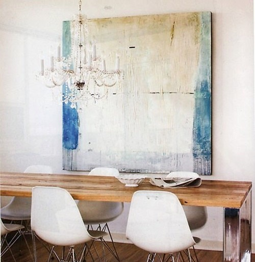 Turquoise abstract painting crystal chandelier rustic tabl for Abstract art for dining room