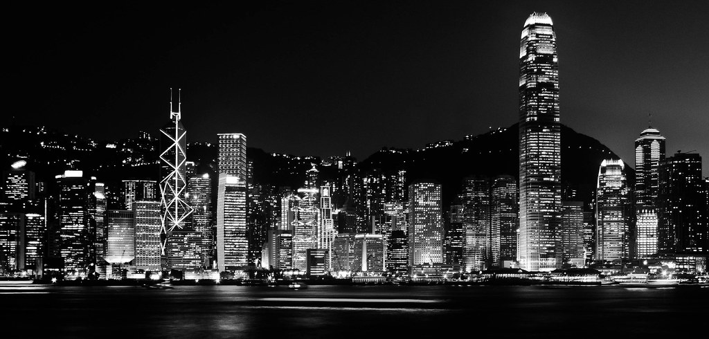 Hong kong skyline black and white by dennis jvi
