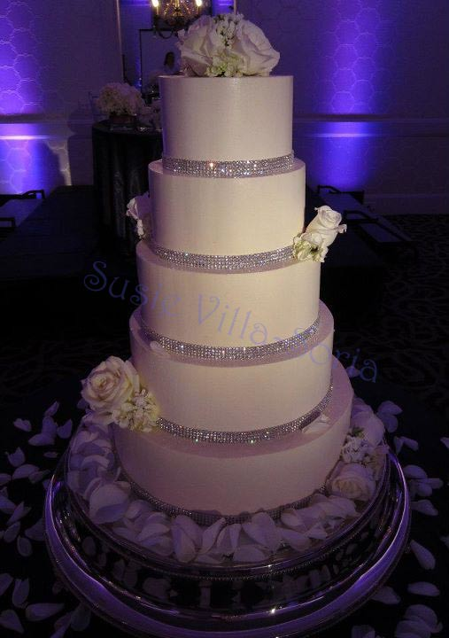 Rhinestone Wedding Five Tier Buttercream Cake With