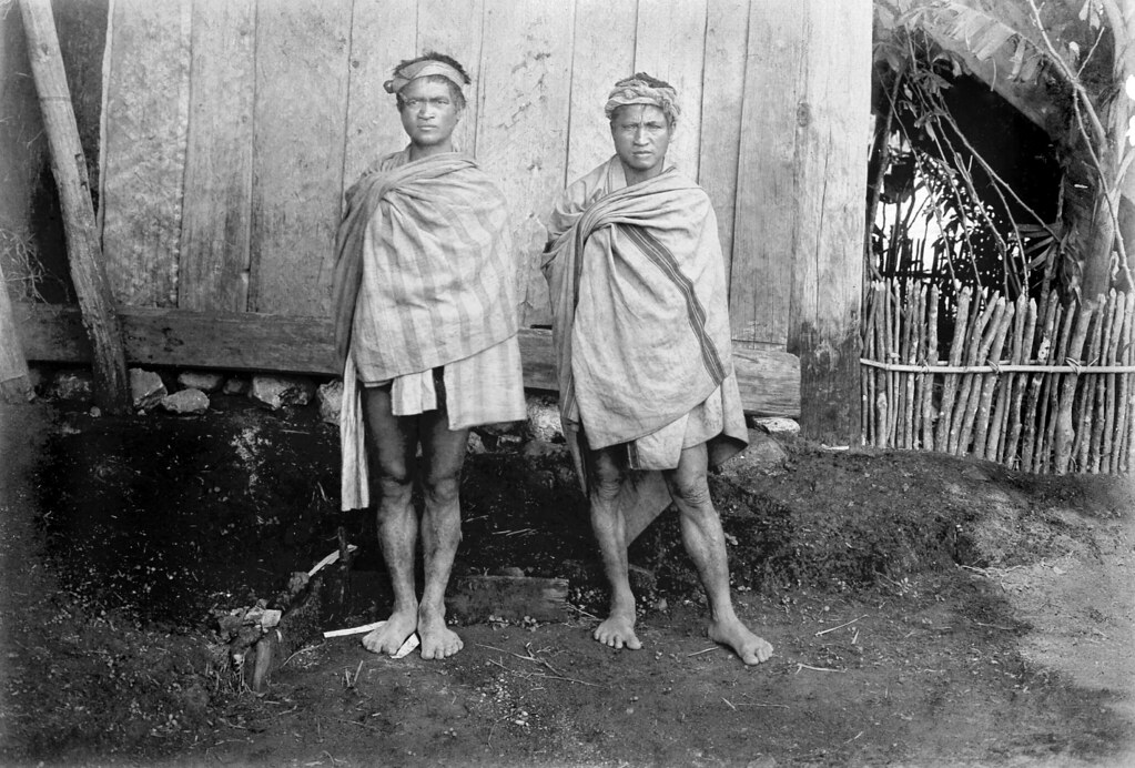 Two Benguet Igorote Men Wrapped In Their Cotton Blankets