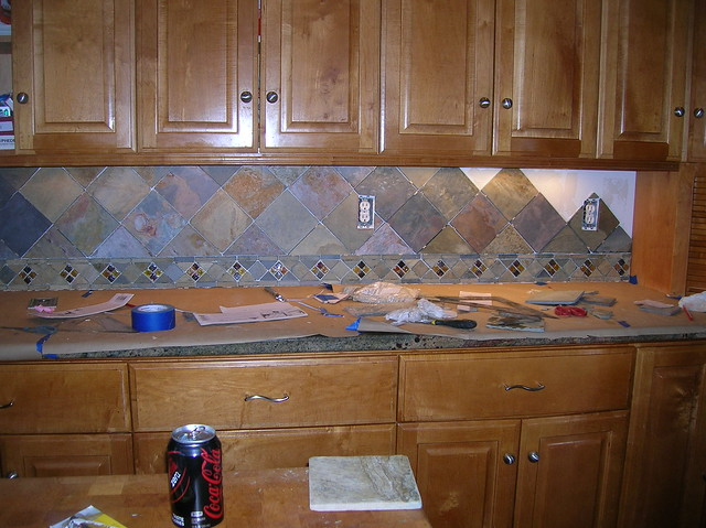 Kitchen Backsplash 4 Slate Tile On Point Flickr Photo Sharing
