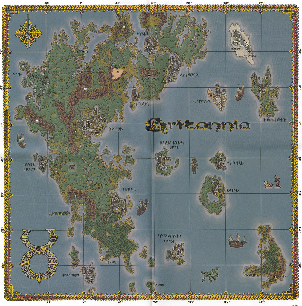 U O: Ultima Online: The Second Age - Map Of Britannia