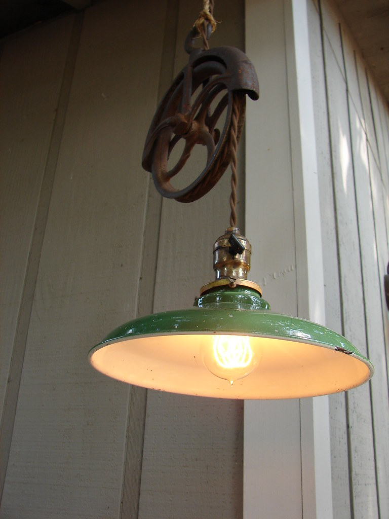 Lighting Pendant Farmhouse Hanging Well Wheel Pulley Ediso