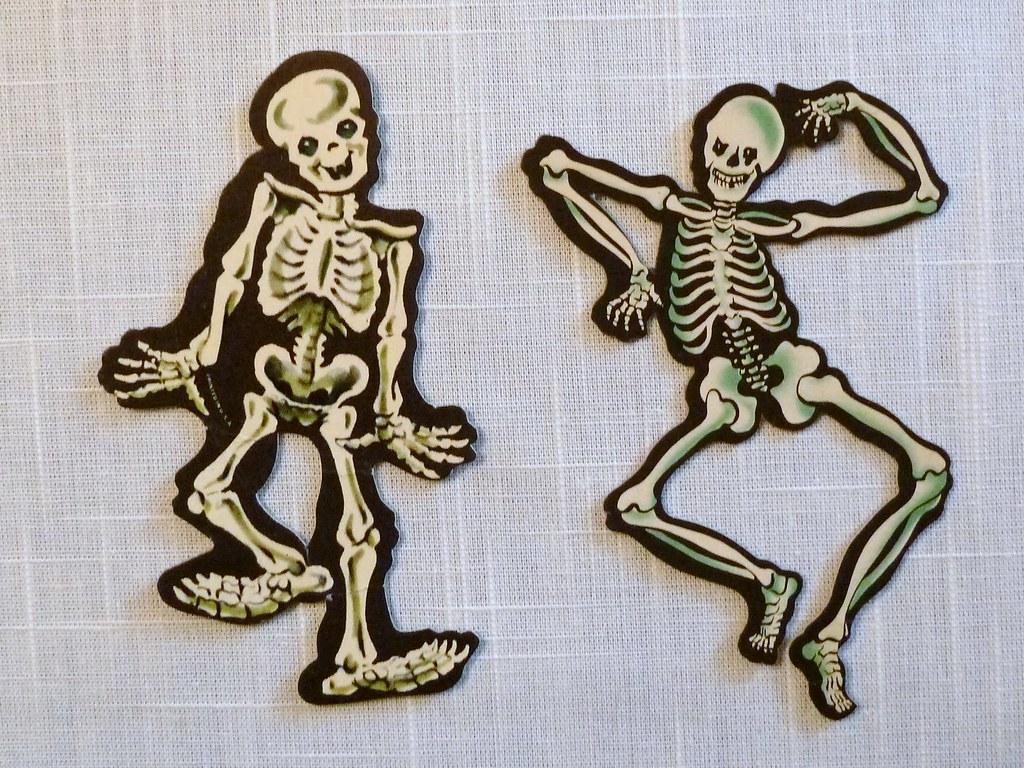 Vintage Halloween Decorations Dennison Skeleton Die Cuts