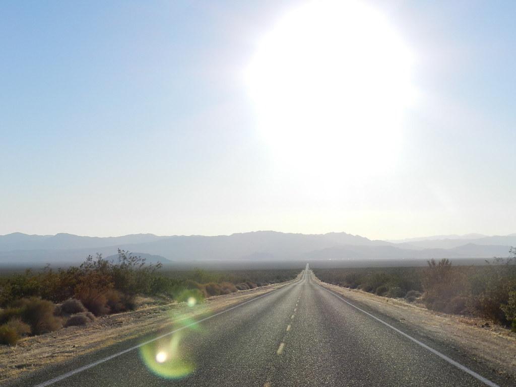 Hot Desert Road Shot Taken While Driving Through The Mojav Flickr - A hot desert