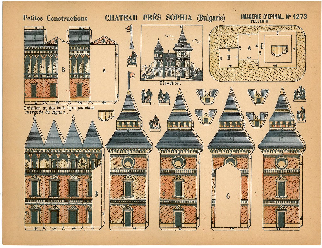 castle cut out template - imagerie d epinal 17 french cut out model from around