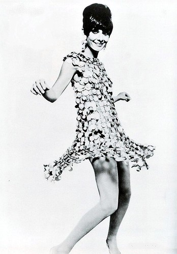 "Audrey in Paco Rabanne's swinging mini-dress in the film ""Two for the Road"", photo by William Klein, 1967 