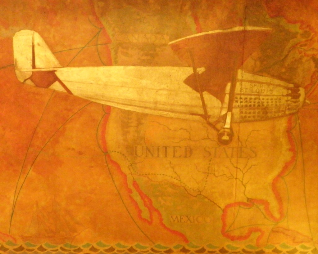 Spirit of st louis airplane lobby ceiling mural chrysler for Chrysler building mural