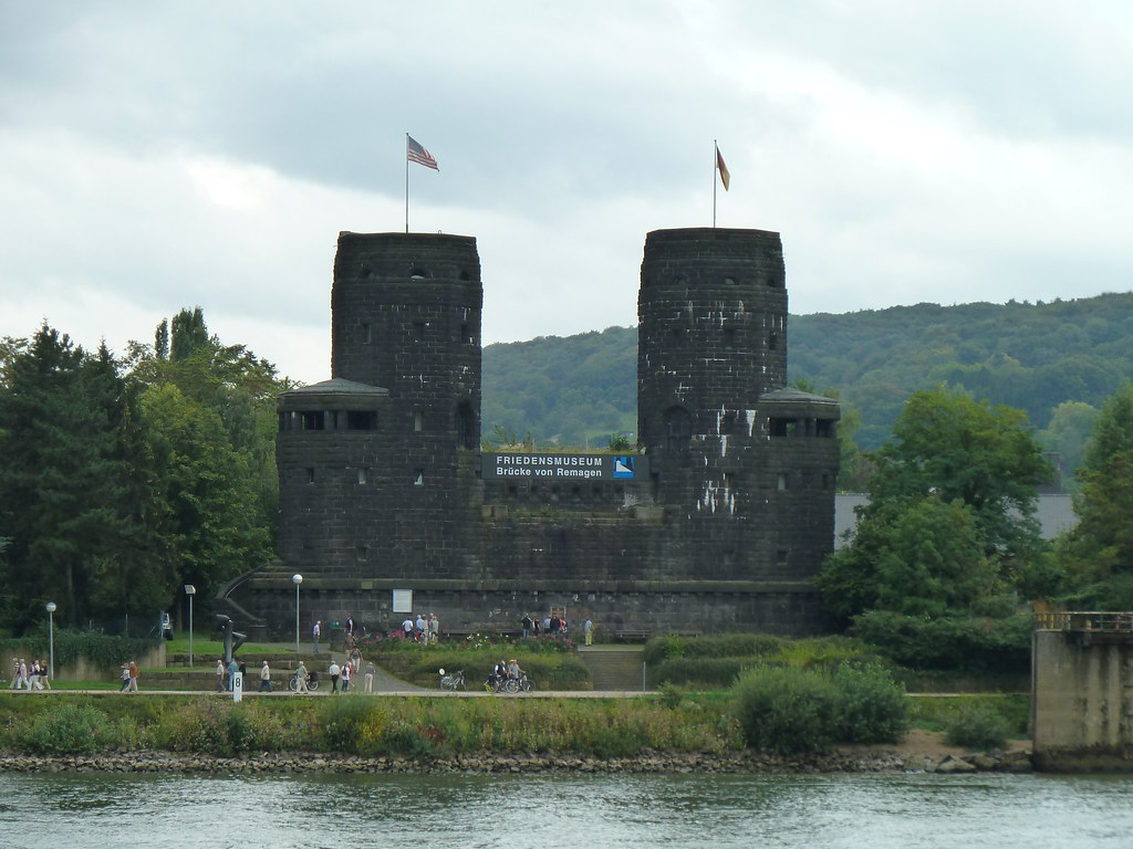 Towers of the Ludendorff Bridge at Remagen, on the banks o ...