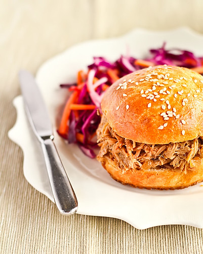 Slow Cooked Ginger Beer Pulled Pork on Brioche Buns with a Spicy Slaw | by raspberri cupcakes