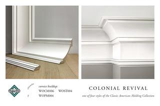 Colonial revival crown molding cornice buildup crown for Colonial trim molding