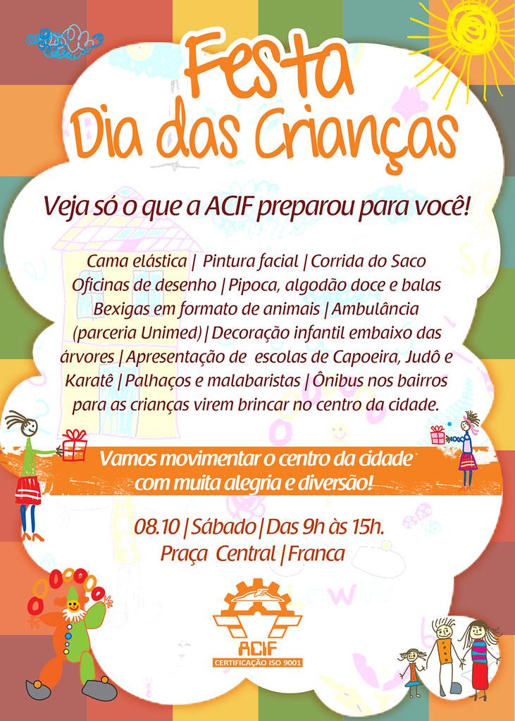 Cartaz Acif Festa Dia Das Crian 231 As Cria 231 227 O Andr 233 Moura De Flickr