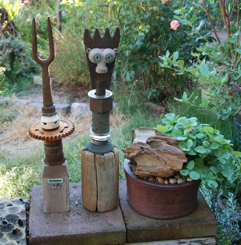 Garden Deities and Tafoni Pot w/ Fragaria virginiana - Mountain Strawberry | by pete@eastbaywilds.com