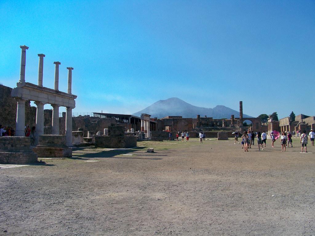 Main Square at Pompeii looking towards Vesuvius