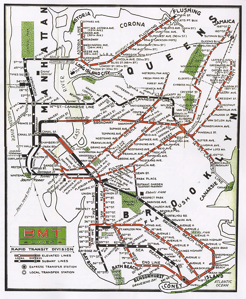 BMT Subway map 1937 | Cluster 8 | Flickr