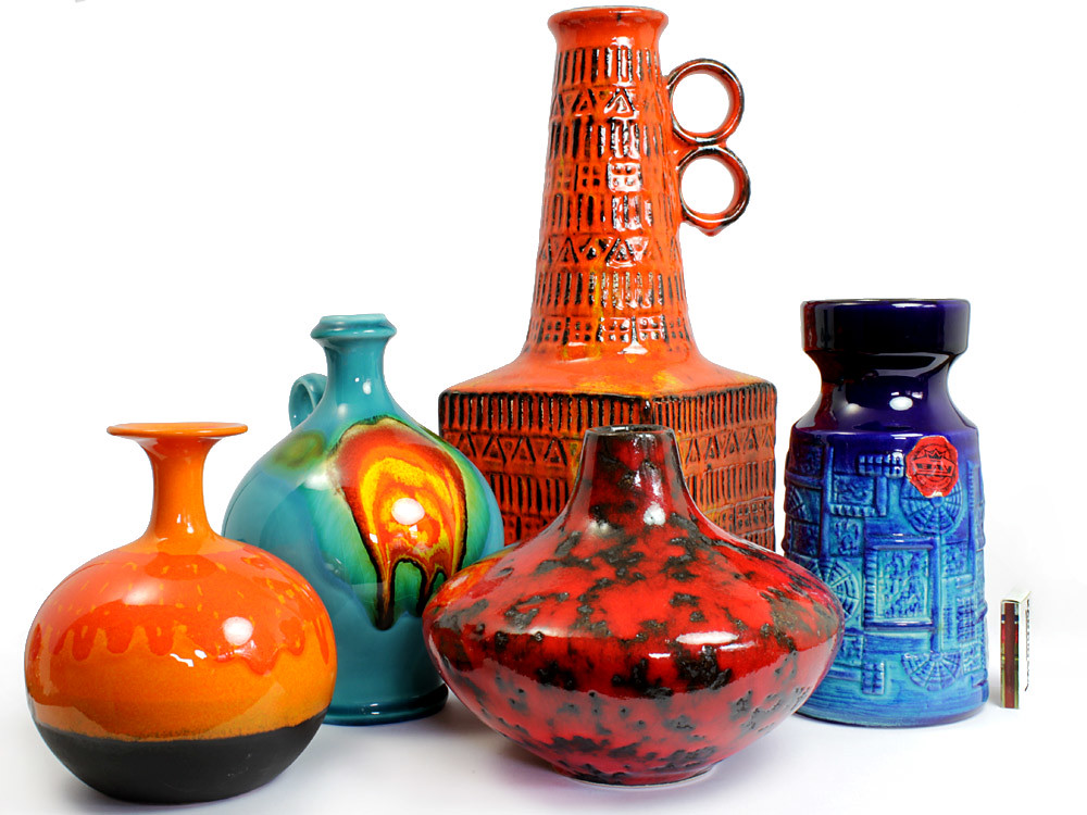 Colorful West German Pottery Group Mid Century