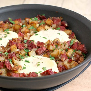 Baked Eggs with Corned Beef Hash | by Tracey's Culinary Adventures