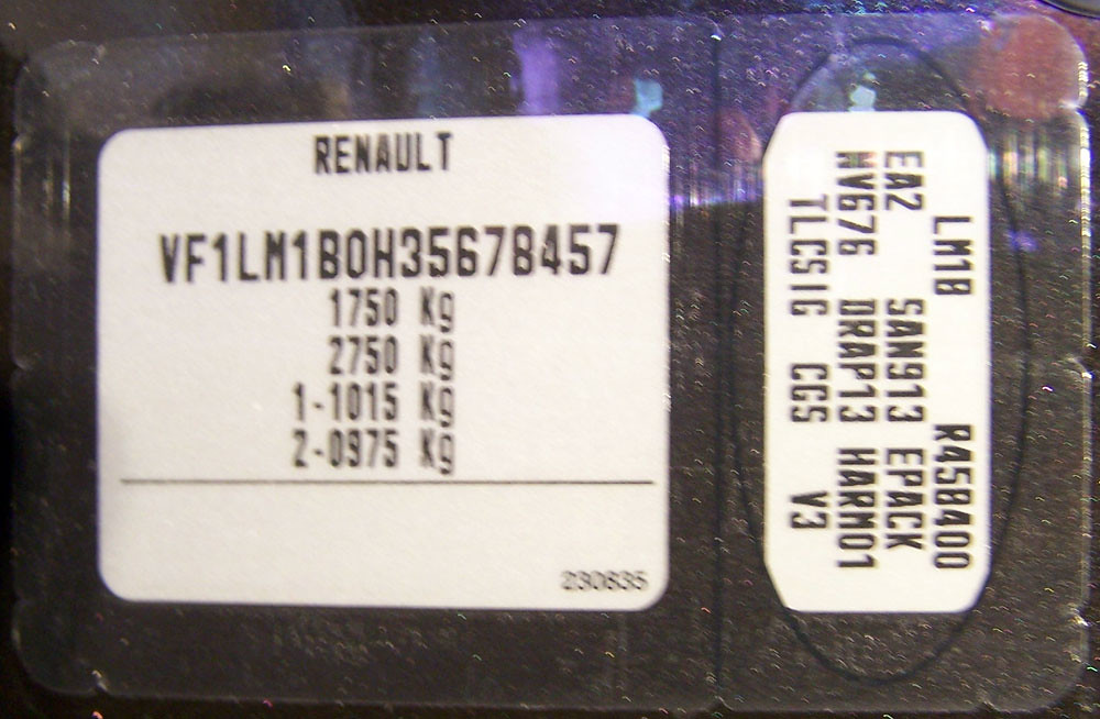 Renault Megane serial number plate (VIN tag) | Renault Megan… | Flickr