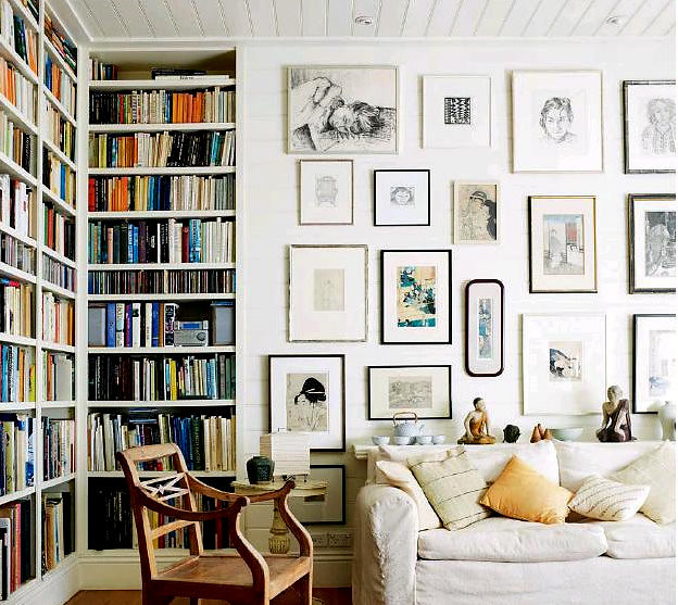 Living Room As Art Gallery: White Eclectic Rustic Vintage