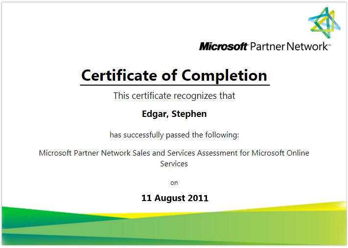 microsoft partner network sales and services assessment fo