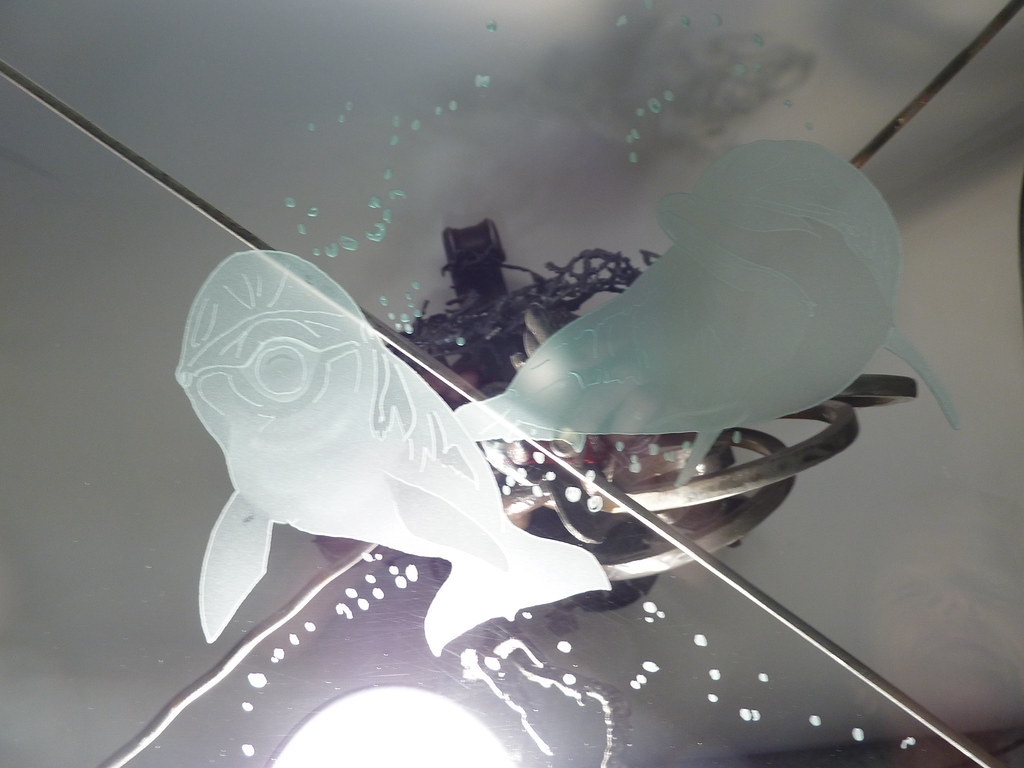 Table Top Glass Etchin Table Top Glass Etching Dolphins