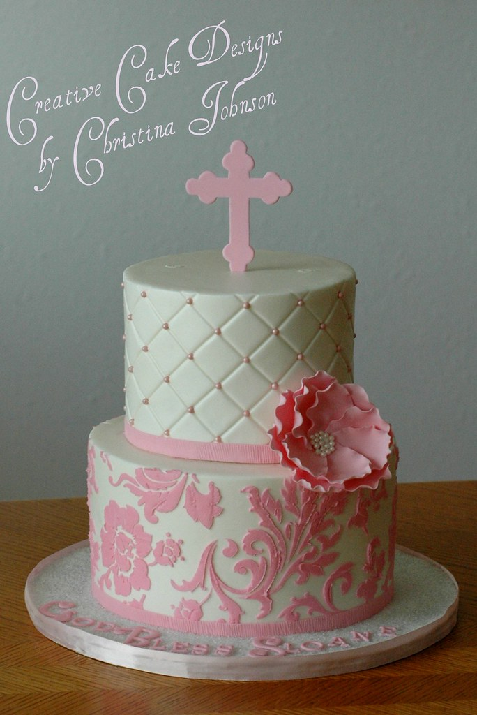 Fondant Cake For Baptism : Pink Baptism Buttercream cake, fondant/gumpaste and ...